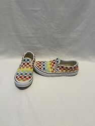 Vans Off The Wall Girls Boys Multicolored Checkerboard Shoes size 3.5 Y $12.00
