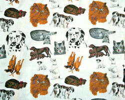 LARGE SCALE INCIVIDUAL PETS ON WHITE 100% COTTON FABRIC $7.99