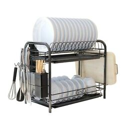 2 Tier Large Capacity Dish Drying Rack Stainless Steel Drainer Kitchen Storage $23.49
