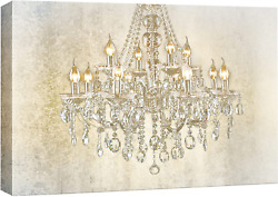 wall26 Chandelier on Vintage Background Canvas Art Wall Art 24x36 inches $66.46