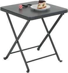 Folding Table Patio Portable Metal Side End Table Outdoor Camping Table Black $17.00