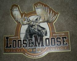 Rustic Looking Cabela#x27;s Loose Moose Wilderness Lodge Sign Wall Hanging $15.00