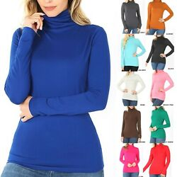 Womens Turtle Neck Long Sleeve T Shirt Comfy Soft Top Warm Mock Casual Tunic $12.95