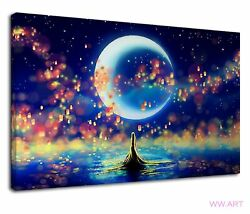 Beautiful Moon Night And Floating Lanterns Canvas Wall Art Picture Print GBP 38.99