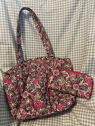 Vera Bradley Handbag Purse Large With Matching Wallet Barely Used Clean No Wear $40.00
