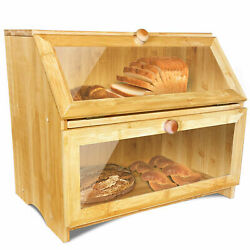 Double Large Wooden Bread Box for Kitchen Counter $29.99