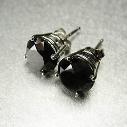 2CT Round Cut Black Diamond Pretty Solitaire Stud Earring 14K White Gold Over $39.99