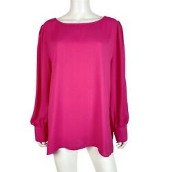 Halogen Womens Size 1X Blouse Top Long Sleeve Pink $17.43