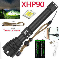 Super Bright 990000lumes XHP90.2 LED Tactical Flashlight Rechargeable Zoom Torch $30.98