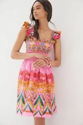 New Anthropologie Tropical Beaded Mini Dress Pink size S with side pockets NWT $138.00