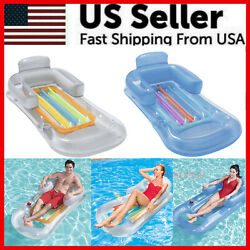 Pool Float Lounge Floating Swimming Lounger With Headrest Cup Holder Inflatable $18.79