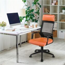 Executive Office Chair w Headrest Leather Seat Computer Desk Chair Orange $75.99