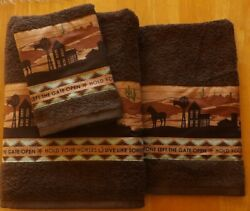 Southwest western rustic 3 pc towel setchoco brownhold your horses border $39.90