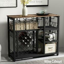 Home Kitchen Wine Rack Table with Bottle Glass Holder Bar Console Buffet Table $179.69