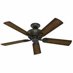 Hunter 52quot; Caicos Bronze Indoor Outdoor Ceiling Fan w Pull Chain Traditional