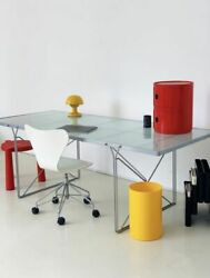 Moment Dining Table Vintage IKEA 1980s Niels Gammelgaard Frosted Glass Metal $600.00