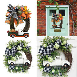 Truck Wreath Wall Living Room Farmhouse Home Green Plants Garland Hanging $13.47