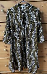 """Zuri Dress 100 % Cotton Size Small with Pockets Multi Color """"Fern Gully"""" Print $110.00"""
