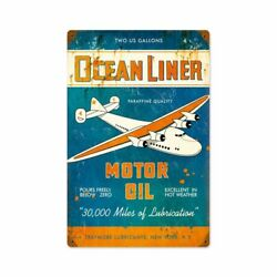 OCEAN LINER MOTOR OIL LARGE PLANE 18quot; HEAVY DUTY USA MADE METAL ADVERTISING SIGN $82.50