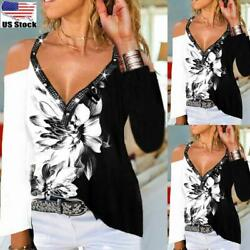 Womens Casual Cold Shoulder Long Sleeve V Neck Floral Print T Shirt Blouse Tops $17.89