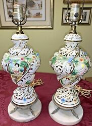 """Antique Capodimonte Remington Italy Hand Painted Table Lamps Pair 30"""" Tall $812.48"""