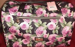 Juicy Couture BLACK Weekender Bag Purse Extra Large WITH ROSES BNWT $63.70