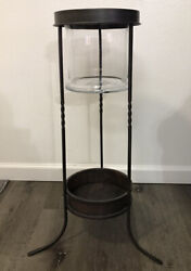 Partylite 3 Wick Candle Stand RARE RETIRED with Glass Excellent Condition $145.00