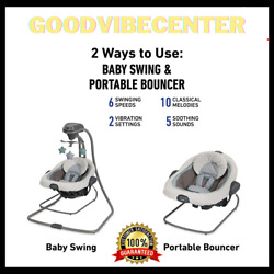Graco 2 Way Baby Swing amp; Portable Bouncer 6 Speed 10 Soothing Calm Music $158.75