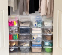 20 Pack Shoe Storage Boxes Plastic Bin with Lid Stackable Design Container Clear $36.55