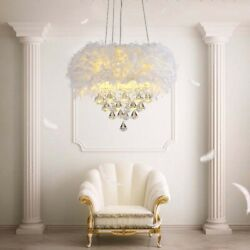 Modern Crystal Chandelier White Feather Ceiling Lighting Bedroom Light Home Deco $149.99