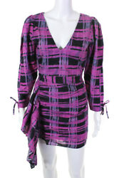 Rhode Womens Piper Dress Pink Plaid Size Small $117.24