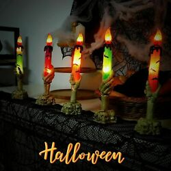 LED Skeleton Hands Hold Lighted Candle Stakes Light Bulbs Halloween Decorations $8.97