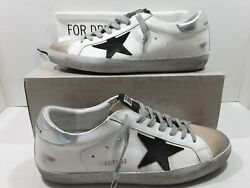 Golden goose Super star men#x27;s sneakers white leather silver brown Sz 43 US 10 $295.00
