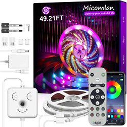 Micomlan Led Strip Lights 49.2 ft Music Sync Color Changing RGB LED Lights with