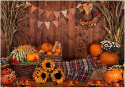 Funnytree 7x5ft Fall Thanksgiving Photography Backdrop Rustic Wooden Floor Barn $26.03