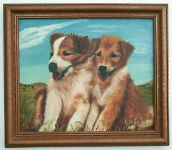 Old Oil Painting PUPPY Dog Puppies collie ? siblings canvas board framed signed $105.00