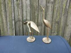 Pair of Vintage Solid Brass Cranes 7quot; amp; 12quot; Tall $29.90
