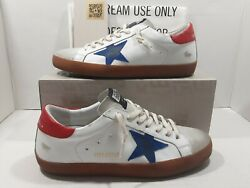 Golden goose Super star men#x27;s sneakers white leather red blue Sz 43 US 10 $495 $299.00
