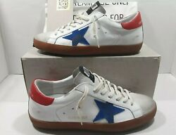 Golden goose Super star men#x27;s sneakers white leather red blue Sz 41 US 8 $495 $299.00