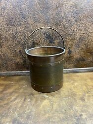 Antique English Hand Forged Riveted Solid Copper Pail Bucket Coal Scuttle $225.00
