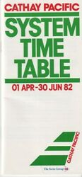 Cathay Pacific Airways timetable 1982 04 01 $10.99