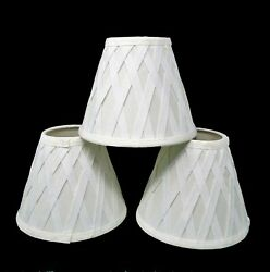 Set of 3 fabric lattice design clip on chandelier shades preowned. $15.00