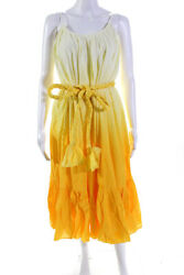 Rhode Womens Lea Belted Midi Length Dress Yellow Ombre Size Small $119.24