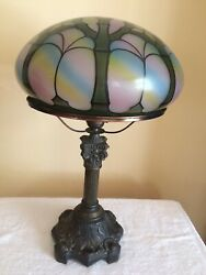 Vintage Lamp with Hand Painted Glass Mushroom Shade and Metal Base $125.00