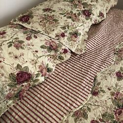 Shabby Chic quilted king size bedspread amp; 2 Shams cottage rose garden EUC $39.99