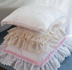 Shabby Chic Throw Pillows Lot 3 White Pink Ecru Lace Pearls Satin Bow Ruffles $35.00