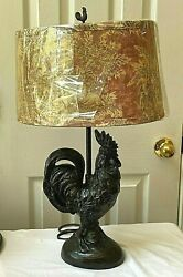 Antique Bronze Rooster Table Lamp Ivory Red Toile Country Fabric Shade Designer $69.95