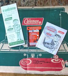 Vintage Coleman 425E Two Burner Camp Stove Green With Orig. Papers and Box $75.00