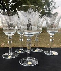 Vintage Crystal Wheel Cut Etched Wine Glasses Made in Romania Set of 5 $19.99