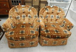 Pair Mid Century MCM Drexel plaid accent barrel swivel lounge club chairs Funky $499.99
